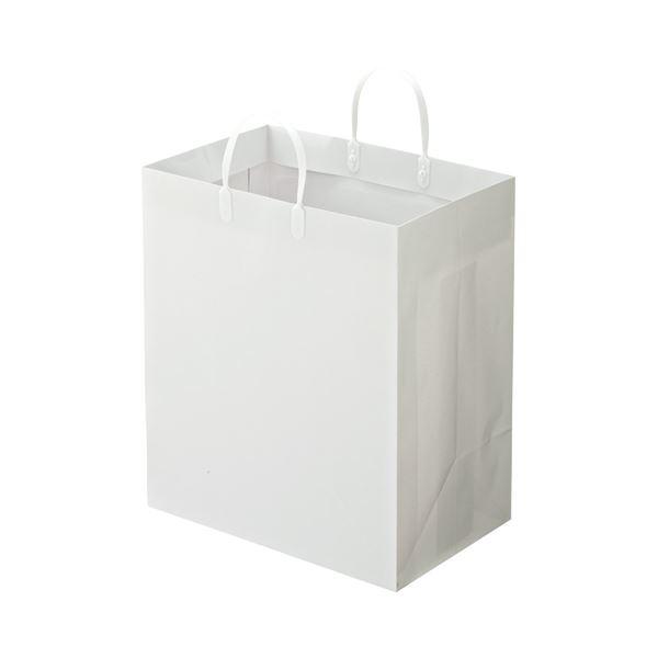 (まとめ) TANOSEE ラミネートバッグ マチ広 ヨコ350×タテ400×マチ幅220mm 白 1パック(10枚) 【×5セット】
