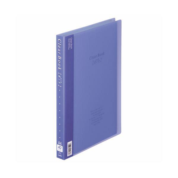 (まとめ) ライオン事務器 クリアーブック(エール)A4タテ 40ポケット 背幅27mm ブルー CR-40A 1冊 【×10セット】