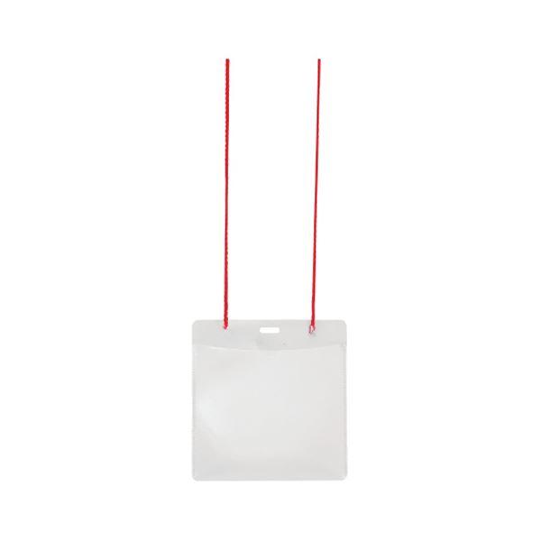 (まとめ) プラス イベント用 吊り下げ式 名札イベントサイズ レッド CT-E1 1パック(50個) 【×5セット】