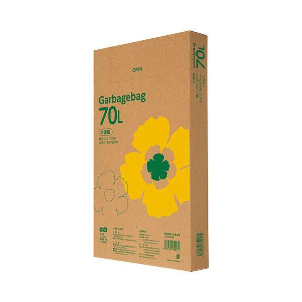(まとめ)TANOSEE ゴミ袋エコノミー 半透明 70L BOXタイプ 1箱(110枚)【×5セット】