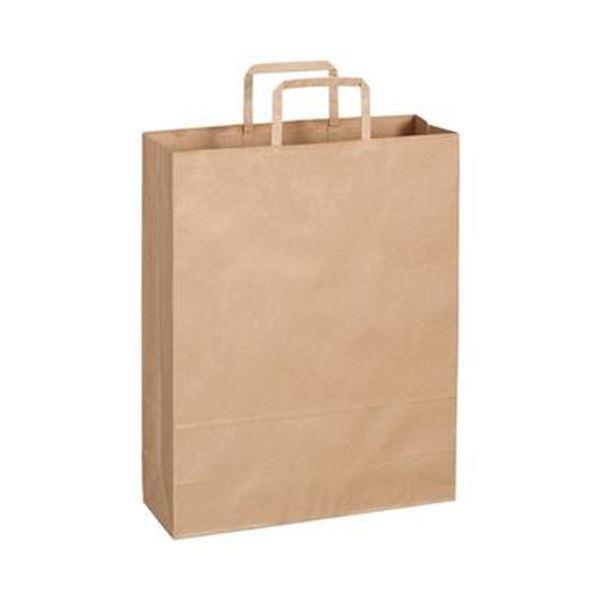 (まとめ)TANOSEE 紙手提袋 平紐 大ヨコ320×タテ400×マチ幅115mm 茶無地 1パック(50枚)【×10セット】