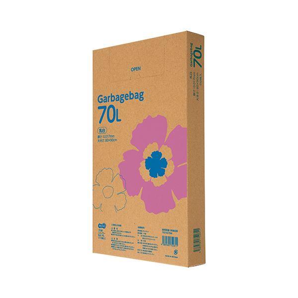 (まとめ)TANOSEE ゴミ袋エコノミー乳白半透明 70L BOXタイプ 1箱(110枚)【×5セット】