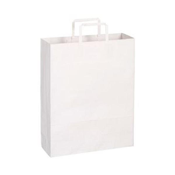 (まとめ)TANOSEE 紙手提袋 平紐 大ヨコ320×タテ400×マチ幅115mm 白無地 1パック(50枚)【×10セット】