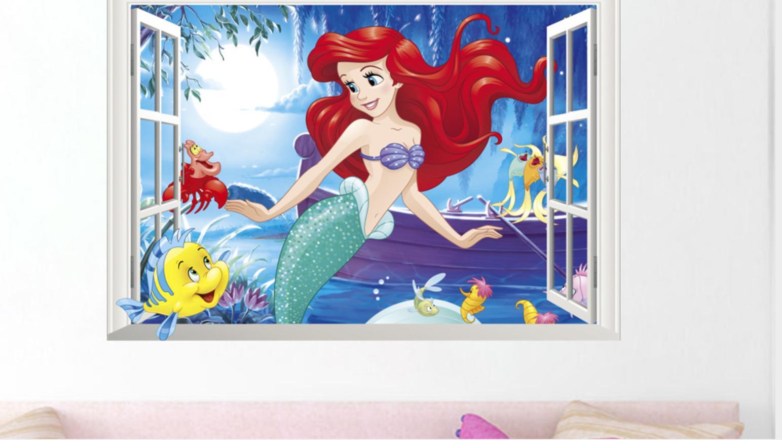 ウォール 貼って 壁紙 北欧 アリエル The Litle Marmaid Disney 壁