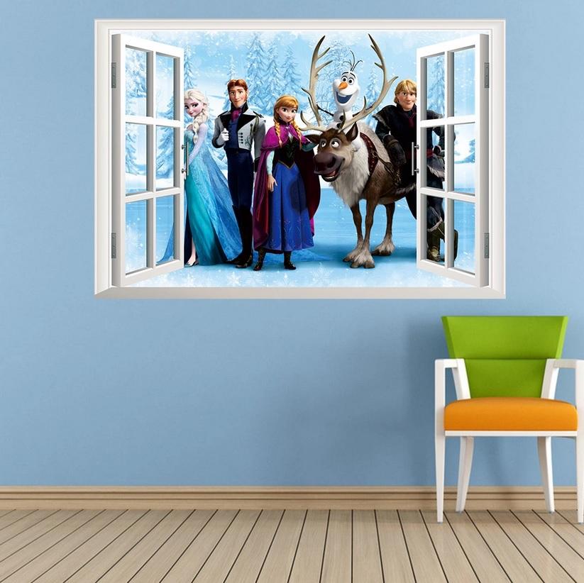 ☆送料無料 Disney FROZEN ディズニー プリンセス アナと雪の女王 定価 ウインドタイプ横 ウォールステッカー ウォール ステッカー はがせる 北欧 CG 保証 子供部屋 壁シール 壁紙 シール 貼って ポスター 激安