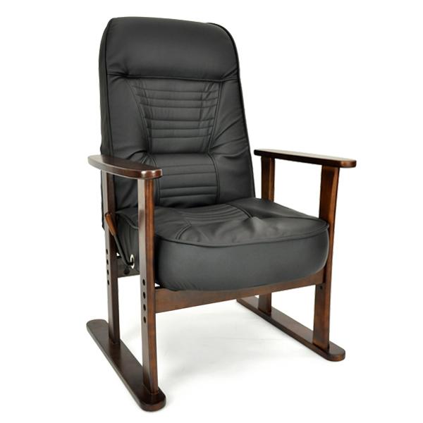 リクライニングチェア 高座椅子 合皮 和モダン 無段階リクライニング ハイバック ガス圧 レバー式 高座椅子 武蔵野「プレゼント」 「ギフト」 「父の日」