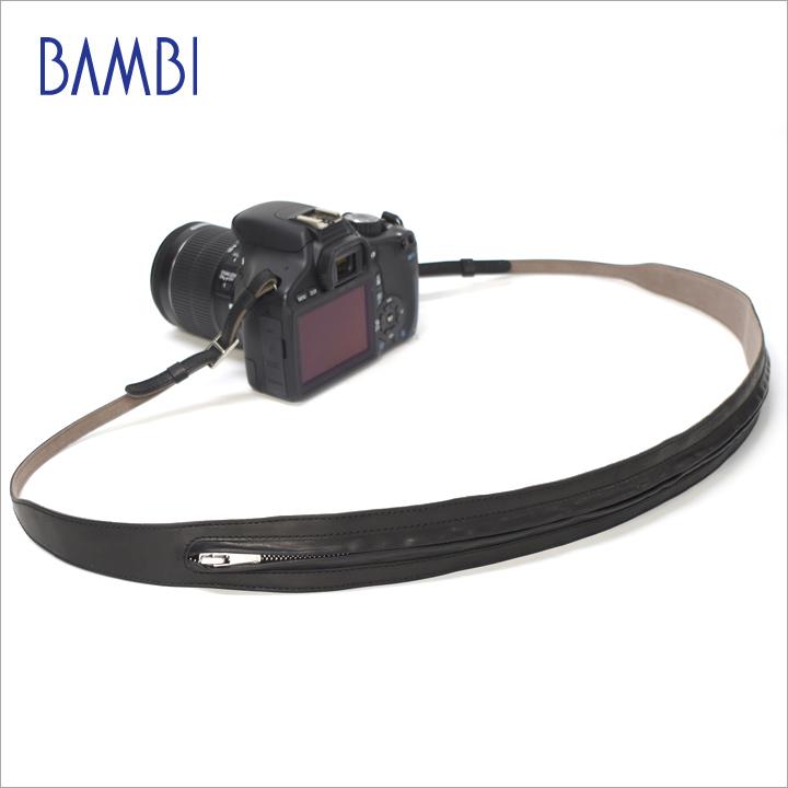 BAMBI バンビ カメラストラップ カメラ用 ネックストラップ GUIDI革 ファスナー 【NSG-Z27】【CP+ 2018 出品商品】 【送料無料】