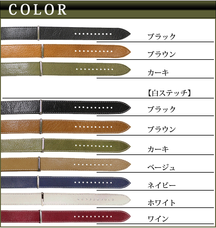 Watch belt watch band NATO type belt ナトータイプ leathermodel 18 mm 20 mm 22 mm 7 colors BC035