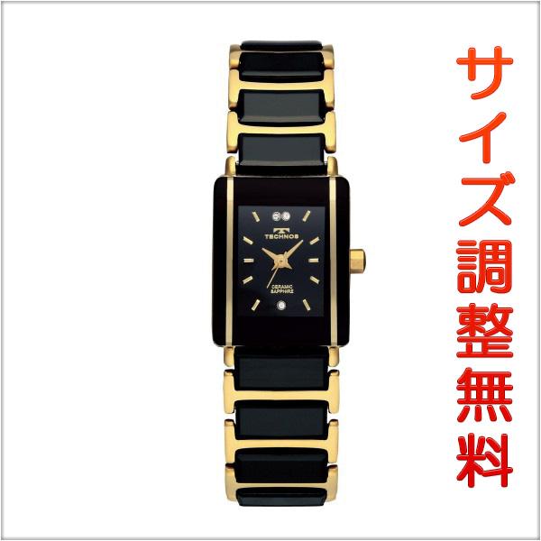 テクノス レディース セラミック 腕時計 TECHNOS TSL906GB ブラック×ゴールド 【お取り寄せ商品】 正規品