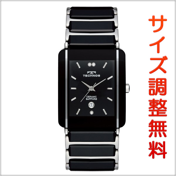 テクノス メンズ セラミック 腕時計 TECHNOS TSM903TB クオーツ ブラック×シルバー 【お取り寄せ商品】 正規品