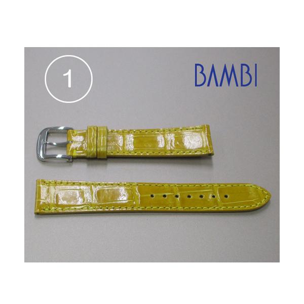 時計ベルト 時計バンド クロコダイル イエロー 18mm 光沢(シャイニング) 最高級ワニ 特価クロコベルト 【GLS240YP-1】 【あす楽】