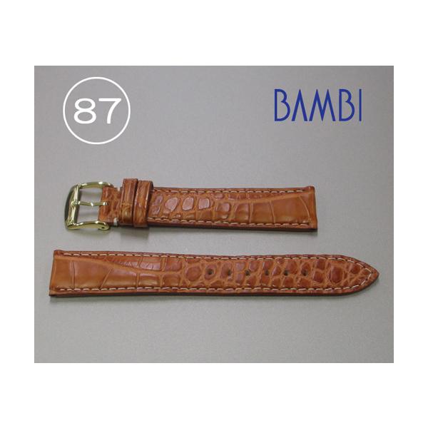 時計ベルト 時計バンド アリゲーター ライトブラウン 18mm 最高級ワニ 特価ベルト GLS300-87 【あす楽】