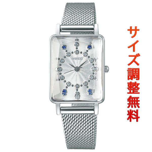 セイコー ワイアード エフ レディース 腕時計 スワロフスキー スクエア AGEK451 SEIKO WIRED f シルバー 時計