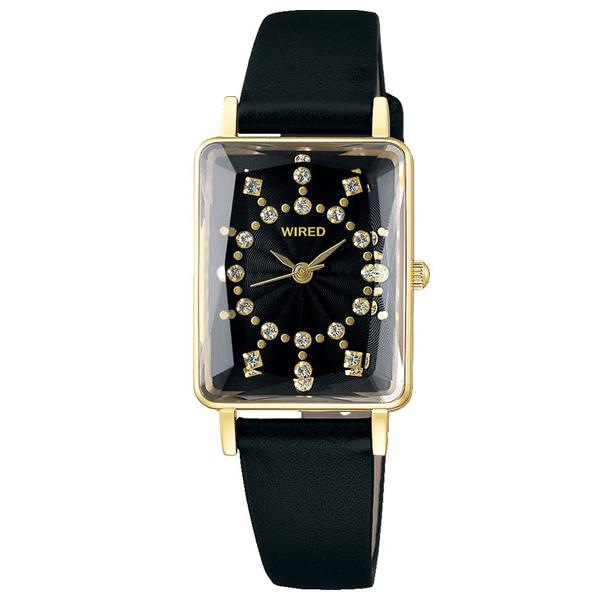 セイコー ワイアード エフ レディース 腕時計 スワロフスキー スクエア AGEK453 SEIKO WIRED f ブラック×ゴールド 時計