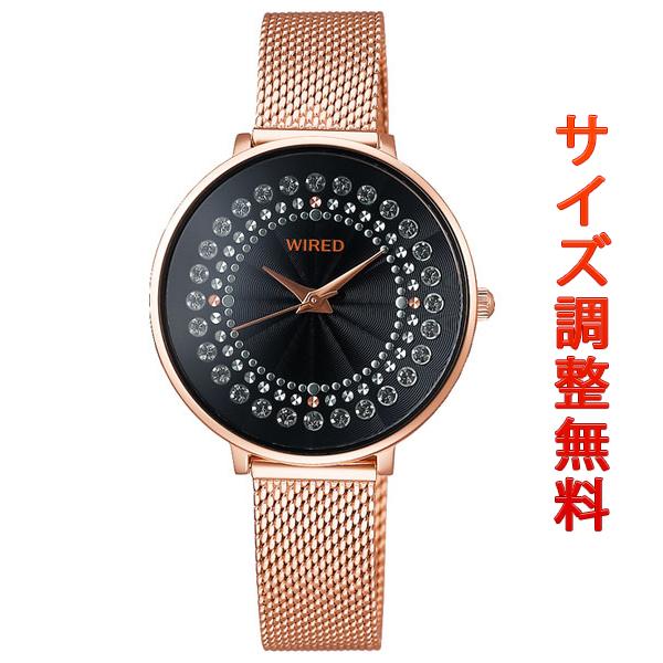 セイコー ワイアード エフ レディース 腕時計 スワロフスキー ラウンド AGEK455 SEIKO WIRED f ブラック×ピンクゴールド 時計