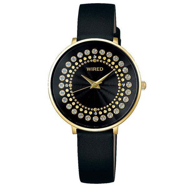 セイコー ワイアード エフ レディース 腕時計 スワロフスキー ラウンド AGEK456 SEIKO WIRED f ブラック×ゴールド 時計