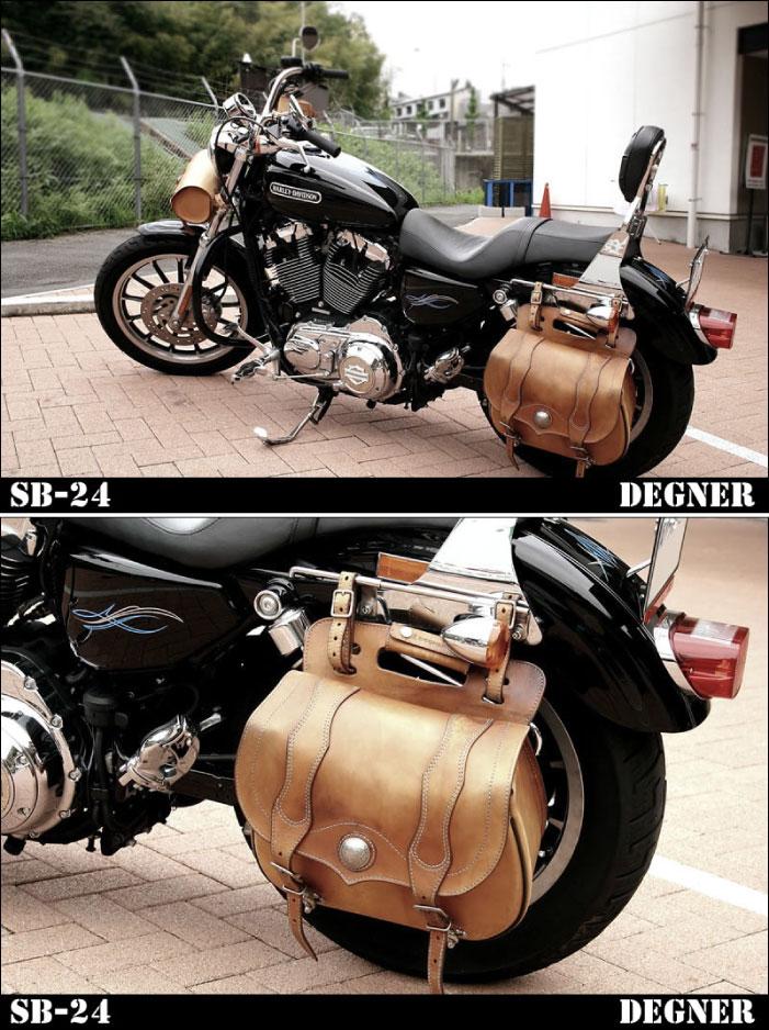 【DEGNER】SFSB-2バスケットサドルバッグアメリカン本革サイドバッグハーレードラッグスターデグナーかっこいい【バイク用品】
