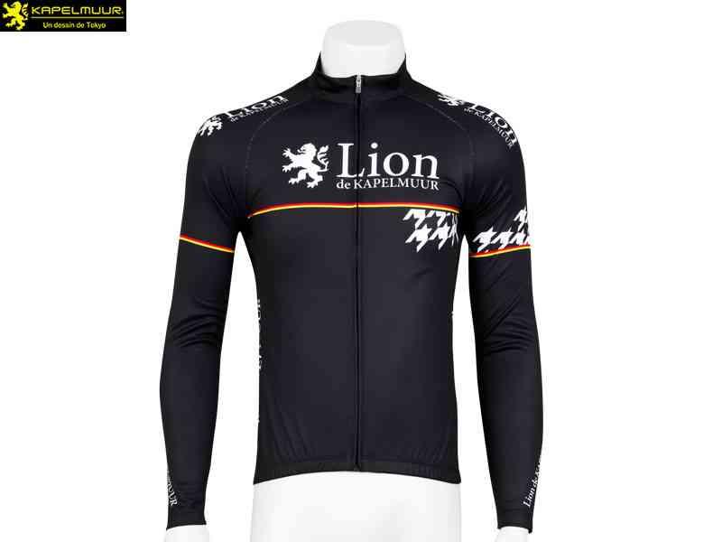 【LION DE KAPELMUUR】(リオン・ド・カペルミュール)長袖ジャージ 千鳥チップ{ブラック}lils003(自転車 ウェア) 4589435654270