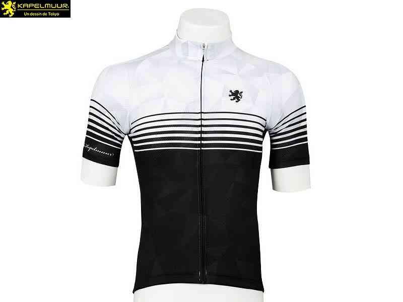 (送料無料)【LION DE KAPELMUUR】(リオン・ド・カペルミュール)レジェフィット半袖ジャージ スピードライン ホワイト×ブラック lihs033(自転車 ウェア) 4589435671109