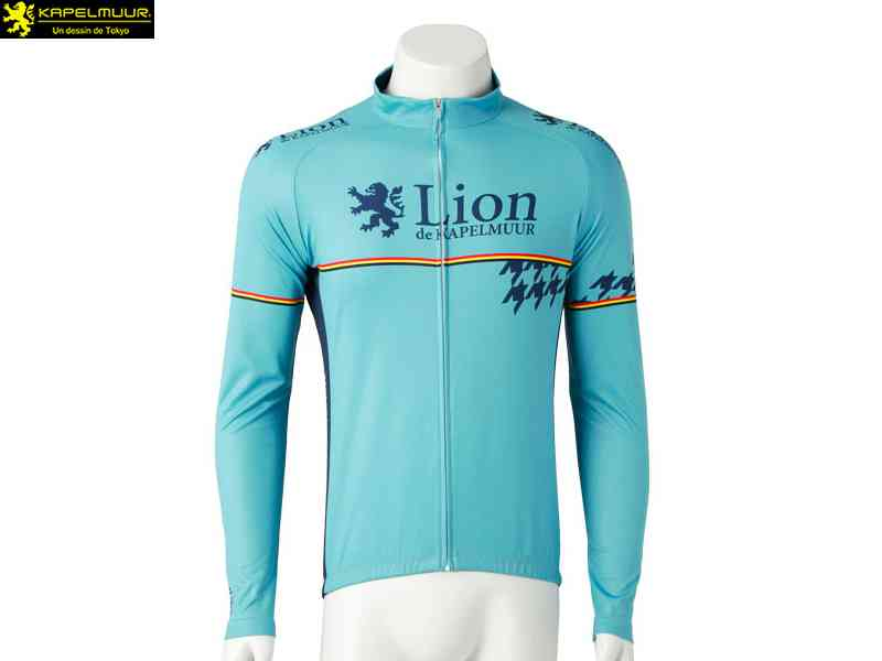 【LION DE KAPELMUUR】(リオン・ド・カペルミュール)長袖ジャージ 千鳥チップ チェレステ lils009(自転車) 4589435676234