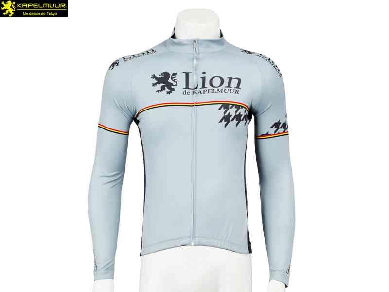 【LION DE KAPELMUUR】(リオン・ド・カペルミュール)長袖ジャージ 千鳥チップ グレー lils010(自転車 ウェア) 4589435676302