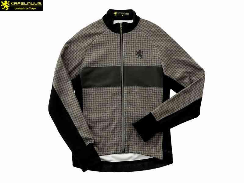 (送料無料)【KAPELMUUR】(カペルミュール)レーシングサーモジャケット ツイード千鳥プリント モカ kpjk117(自転車)