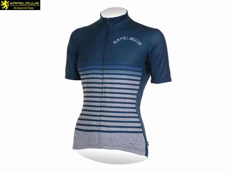 (送料無料)【KAPELMUUR】(カペルミュール)Ladies 半袖ジャージ グランジボーダー ネイビー kphs193(自転車)