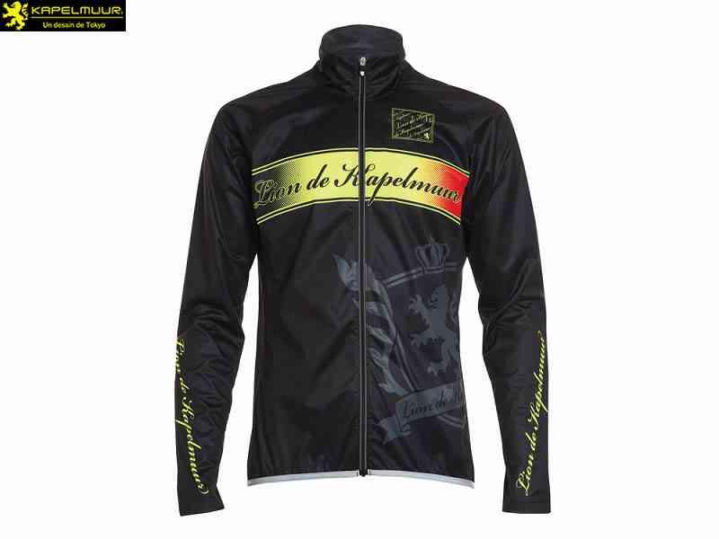 (送料無料)【LION DE KAPELMUUR】(リオン・ド・カペルミュール)ストレッチスリムウインドブレーカー エンブレム ブラック liwb015(自転車)