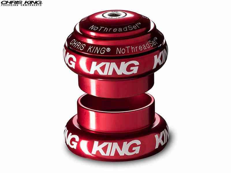 """(送料無料)【CHRIS KING】(クリスキング)NOTHREADSET(NTS)1-1/8"""" ヘッドセット RED BOLD(白ロゴ)(自転車)2006462250012"""