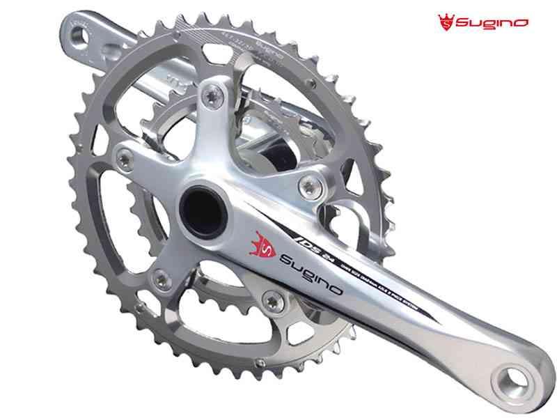 (送料無料)【SUGINO】(スギノ)OX2-901D CLASSIC COMPACT PLUS シルバー 44/30T(2x10/11s)クランクセット(BBなし)スギノロゴ(自転車) 4582412195285