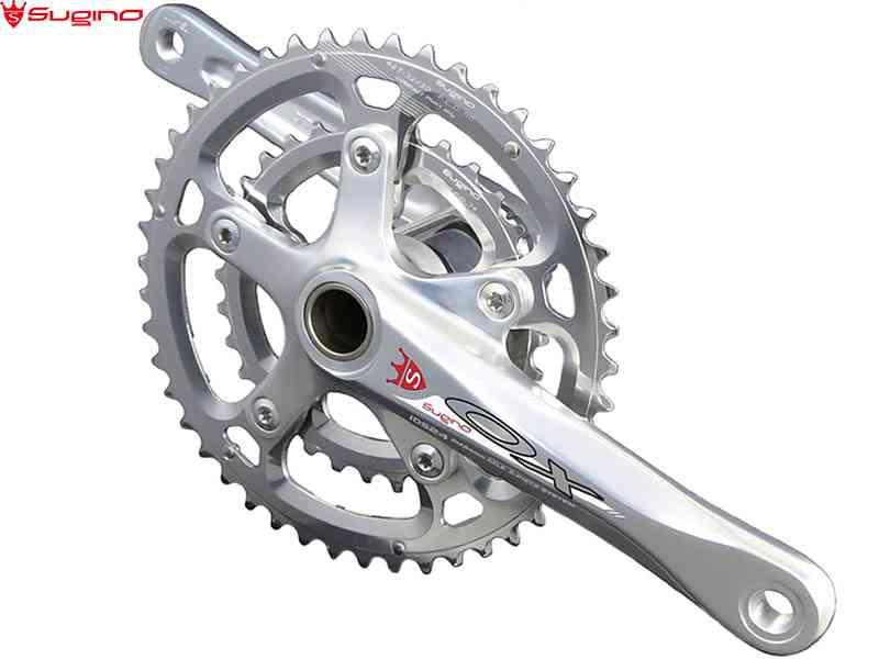 (送料無料)【SUGINO】(スギノ)OX2-901D COMPACT PLUS シルバー 46/30T(2x10/11s)クランクセット(BBなし)OXロゴ(自転車) 4582412193823
