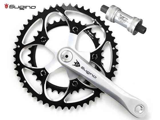 (送料無料)【SUGINO】(スギノ)MIGHTY TOUR 901D ブラック 52/36T(2x10/11s)クランクセット(BB付)(自転車)4582412183619