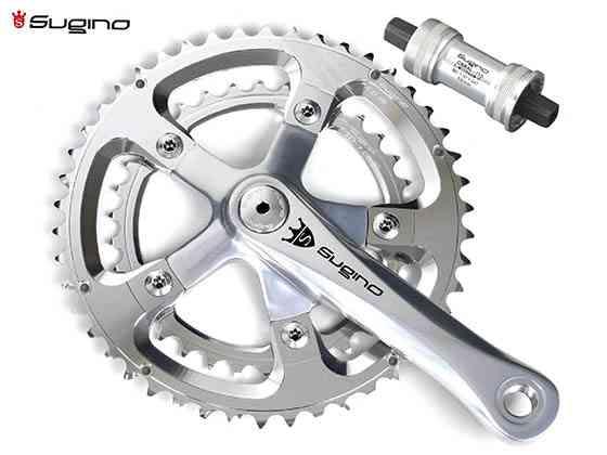 (送料無料)【SUGINO】(スギノ)MIGHTY MIGNON 901D シルバー 50/34T(2x10/11s)クランクセット(BB付)(自転車)2002502350018
