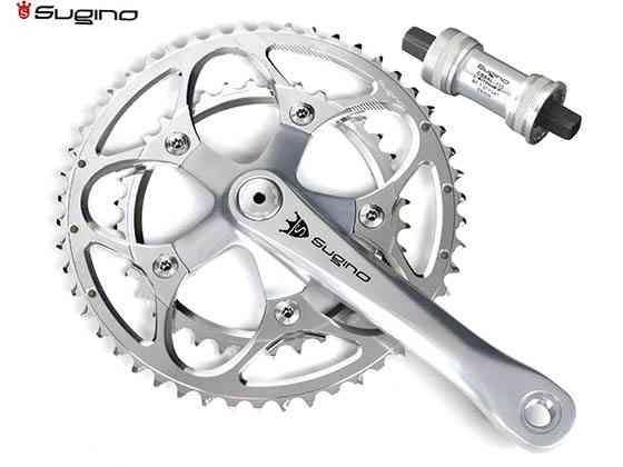 (送料無料)【SUGINO】(スギノ)MIGHTY TOUR 901D シルバー 52/36T(2x10/11s)クランクセット(BB付)(自転車)4582412183077