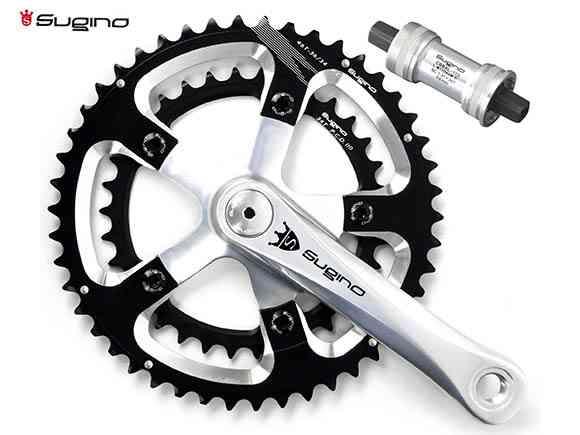 (送料無料)【SUGINO】(スギノ)MIGHTY MIGNON 901D ブラック 50/34T(2x10/11s)クランクセット(BB付)(自転車)2006396840013
