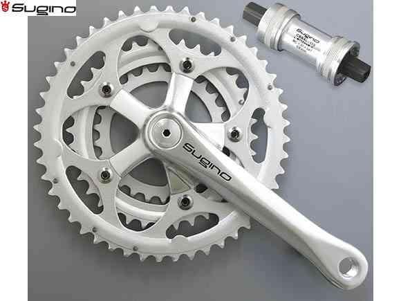 (送料無料)【SUGINO】(スギノ)ALPINA2 TRIPLE 46/36/26T(3x10s)クランクセット(BB付)(自転車)4582412185033