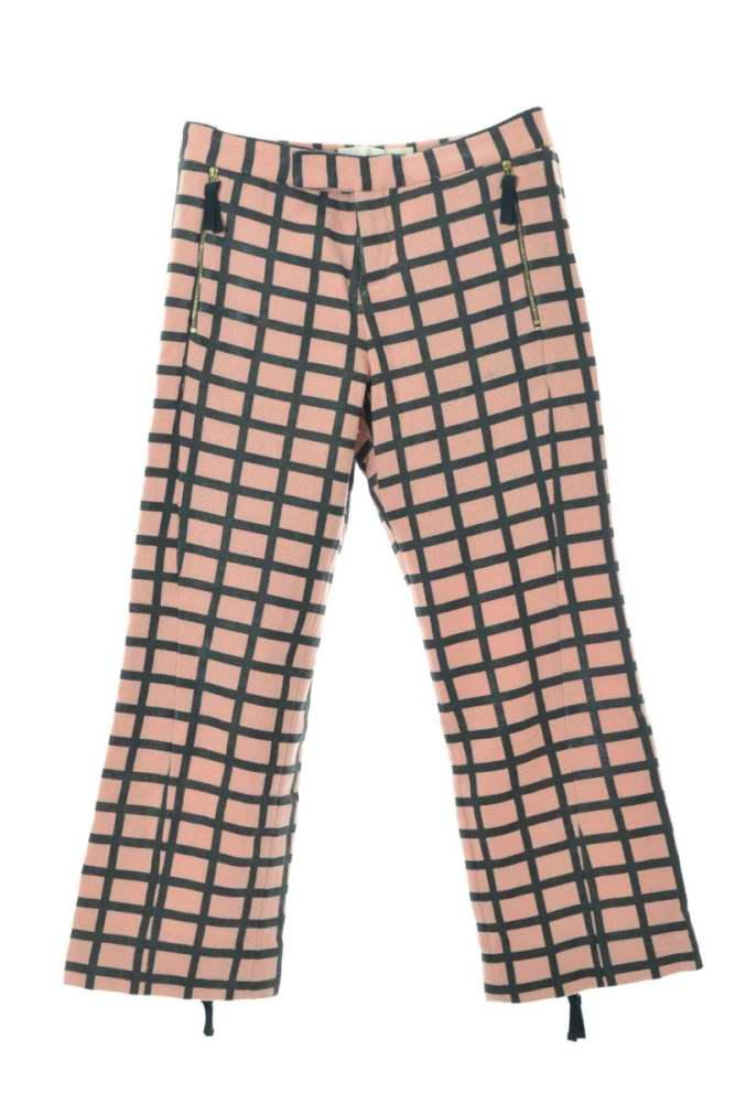 レディース マルニ 宅配便送料無料 販売 パンツ 美品 MARNI チェックウール混 38 裾ジップフレアパンツ ピンク 中古