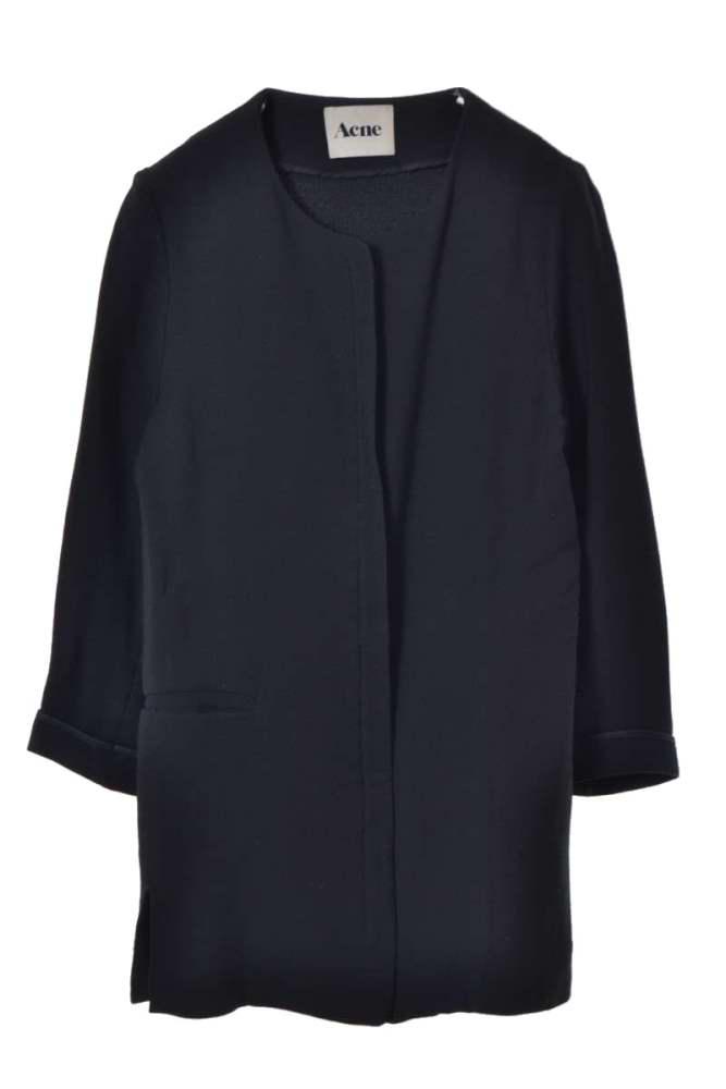 レディース アクネ ノーカラージャケット ACNE 半額 BEETA ブラック 新色追加して再販 ノーカラージップ ジャケット 中古 36