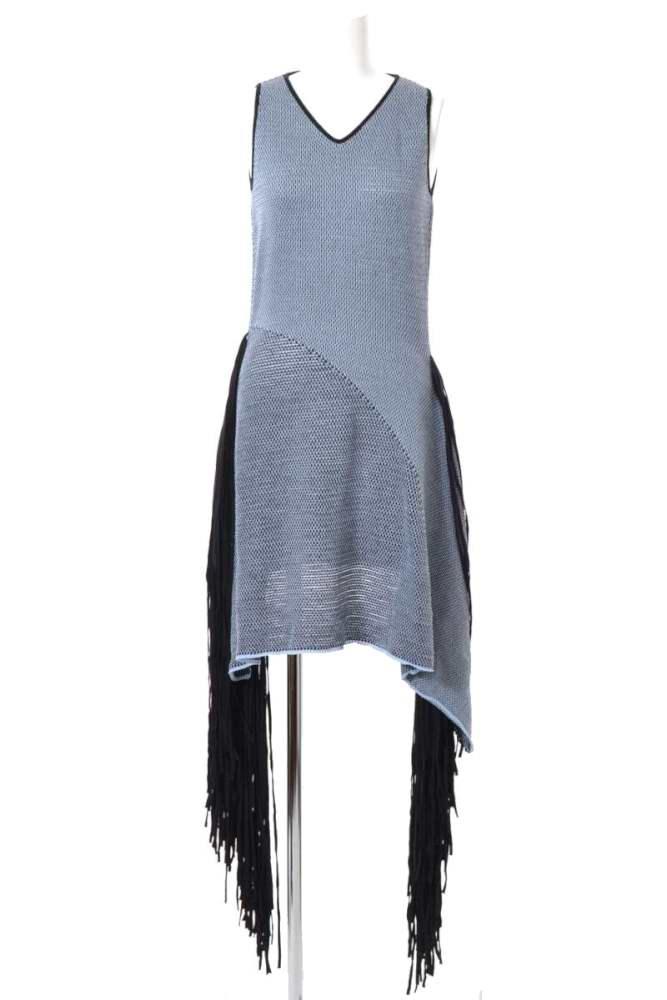 レディース ステラマッカートニー ドレス 未使用 STELLA McCARTNEY 38 フリンジ ワッフル NEW売り切れる前に☆ 中古 ブラック お得なキャンペーンを実施中