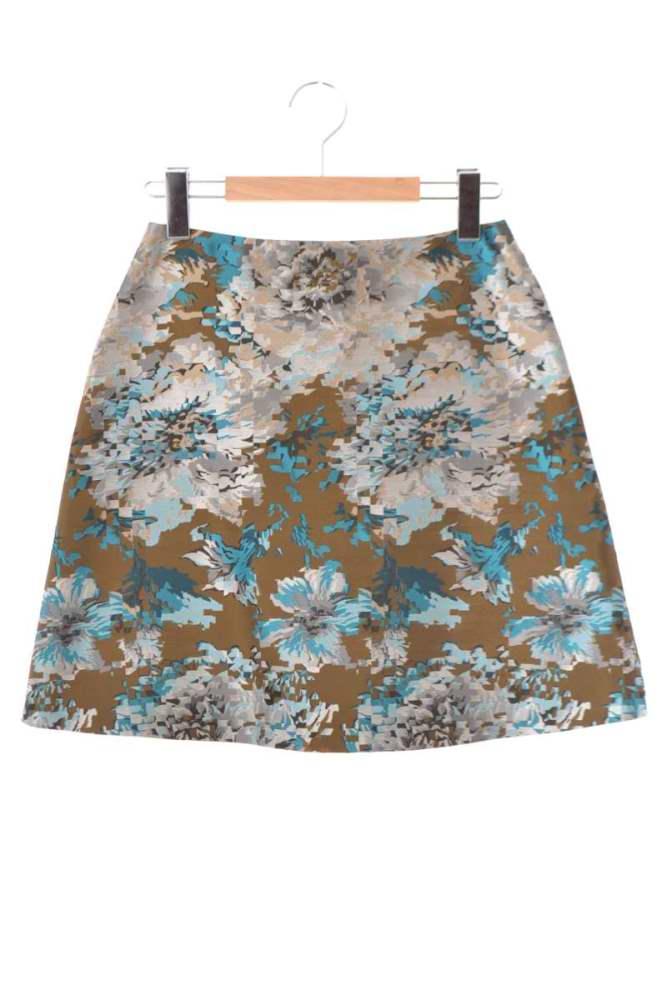 レディース クローラ スカート CROLLA シルク混 シルバー 期間限定の激安セール 36 信憑 刺繍 中古