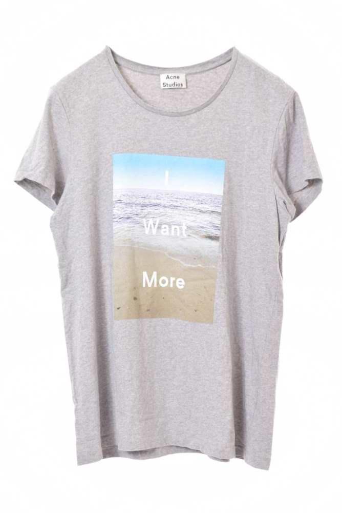 メンズ アクネ ストゥディオズ Tシャツ カットソー 美品 ACNE 驚きの値段 中古 グレー 時間指定不可 STUDIOS プリント M