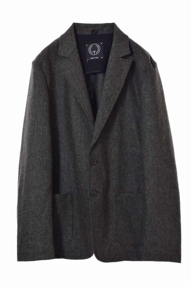メンズ ティージャケット テーラードジャケット 新生活 美品 T-JACKET カシミヤ混 ジャケット L ストレッチ 中古 オリーブ 2B 販売実績No.1