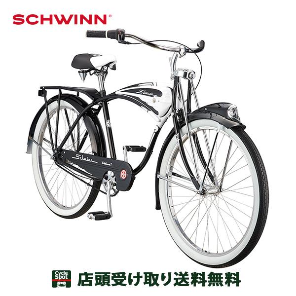 P16倍 6/21 10:00~6/24 23:59 クルーザー 自転車 シュウイン ホワイト ブラック 26インチ 2020 クラシック デラックス7 SCHWINN 変速なし
