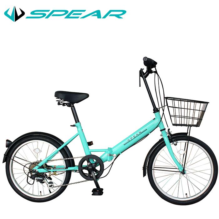 折りたたみ自転車 折畳み自転車 LEDライト ワイヤーロック セット 20インチ シマノ製6段変速 SPEAR(スペア)SPFK-206 ディレーラー Tourney(ターニー) 男性 女性 1年保証