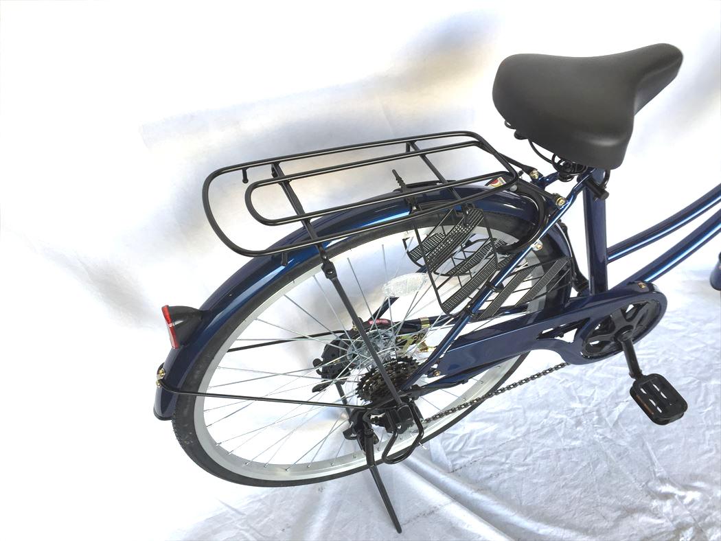 かぎ付き ギア付き ホワイトゴールド おしゃれ 激安 自転車 オートライト シティサイクル 配送先一都三県一部地域限定 LECIEL サントラストママチャリ6段変速ギア ルシール 通販 26インチ