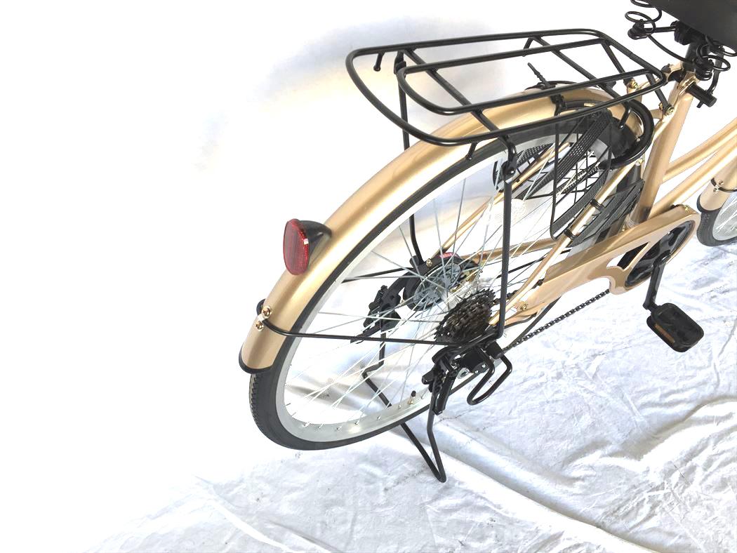 26インチ 激安 おしゃれ ギア付き サントラストママチャリ6段変速ギア 配送先一都三県一部地域限定 自転車 通販 LECIEL オートライト かぎ付き ホワイトゴールド ルシール シティサイクル