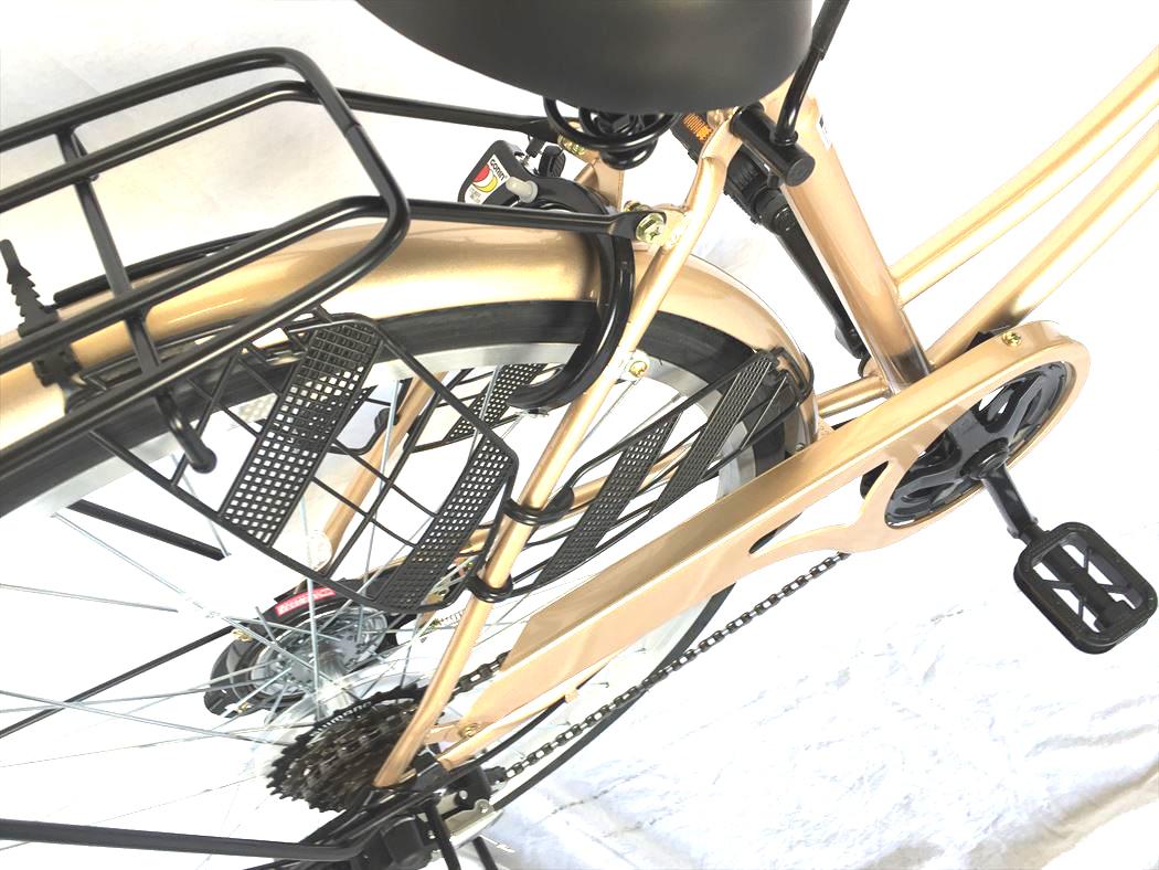 シティサイクル ルシール かぎ付き ギア付き オートライト 26インチ おしゃれ 激安 LECIEL サントラストママチャリ6段変速ギア 通販 配送先一都三県一部地域限定 ホワイトゴールド 自転車