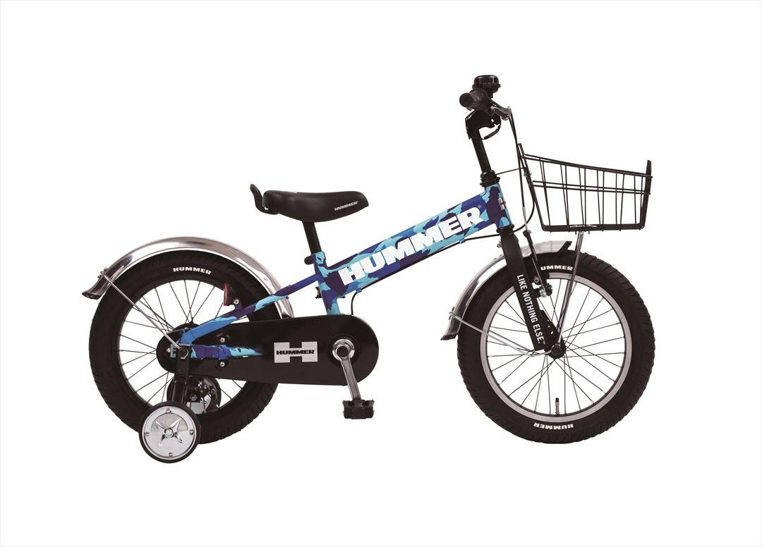 2018年モデル 送料無料 子供用 マウンテンバイク ハマー HUMMER 自転車 幼児 補助輪付き 自転車 子ども用 自転車 迷彩 ブルー 16インチ 自転車 ギアなし 補助輪 泥除け かご付 ハマー KID'S TANK3.0-SE ジュニア 自転車 キッズ おしゃれ