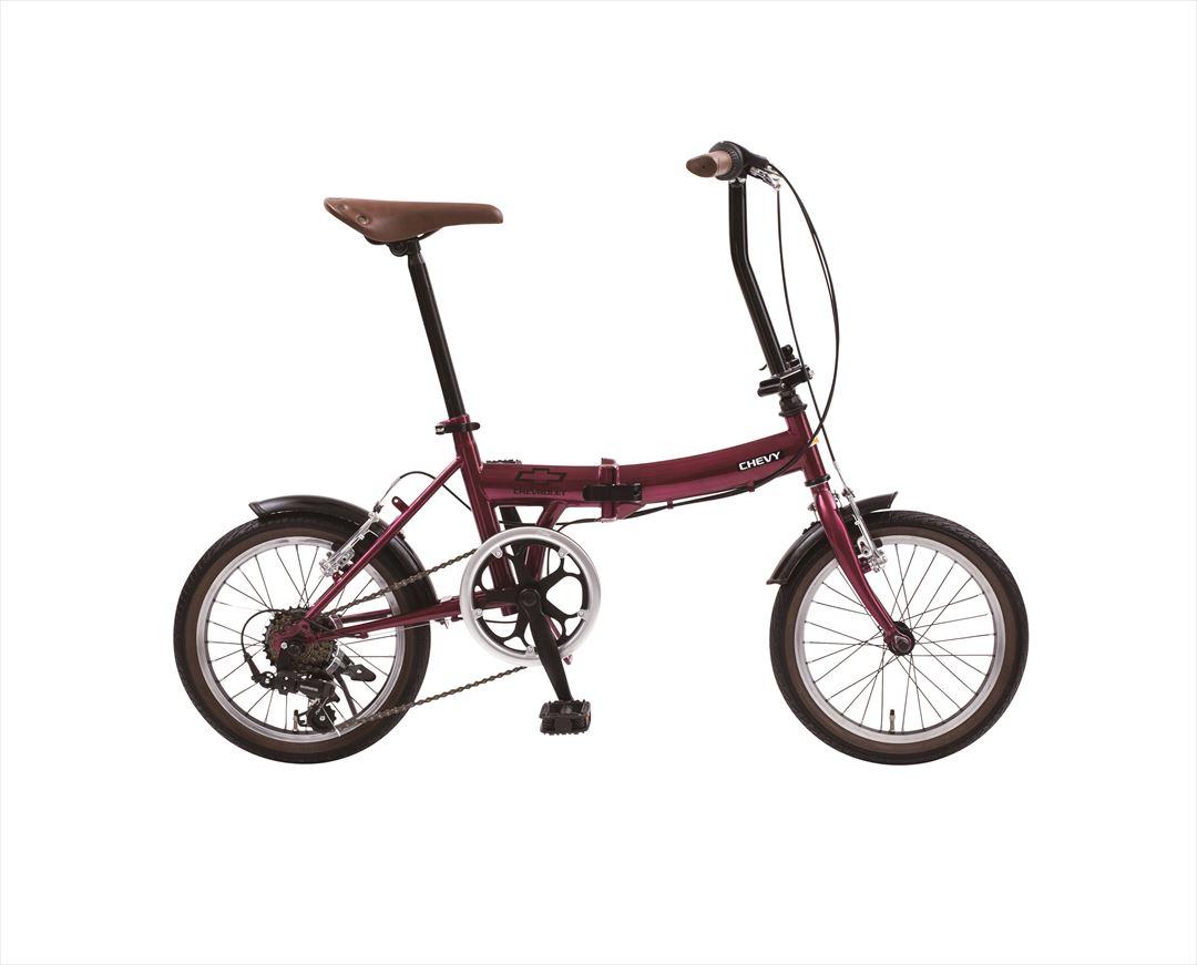 配送先一都三県一部地域限定送料無料 2018年モデル シボレー 折りたたみ自転車 16インチ 折りたたみ自転車 外装6段変速ギア CHEVY Classic CHEVY FDB166 レッド パープル ワインレッド おしゃれ