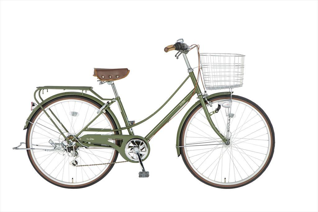 イーストボーイ カジュアルファミリー 自転車 26インチ シティサイクル 自転車 女子高生 女子中学生、女子小学生の通学に最適 2018年モデル ママチャリ シティ車 6段ギア ローラーブレーキ LEDオートライト EASTBOY BAA EB266CF マットオリーブ 女の子